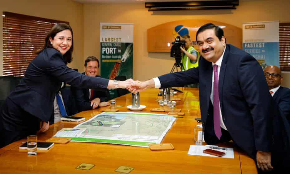 Adani Group chairman Gautam Adani meets Queensland premier Annastacia Palaszczuk in December 2016.