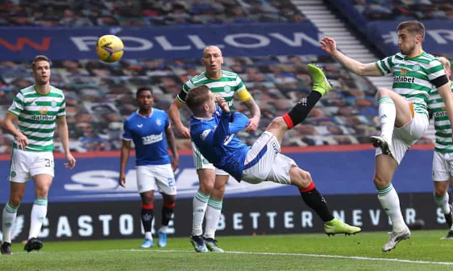 Steve Davis opens the scoring for Rangers against Celtic