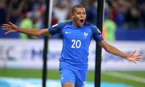 Kylian Mbappé celebrates his goal for France against Holland at the Stade de France on Thursday night.