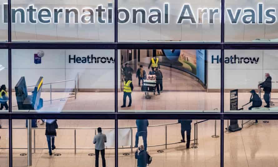 People arriving at Heathrow airport.