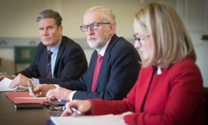 Jeremy Corbyn with the shadow Brexit secretary, Keir Starmer, left, and shadow business secretary, Rebecca Long-Bailey in the Houses of Parliament, London.