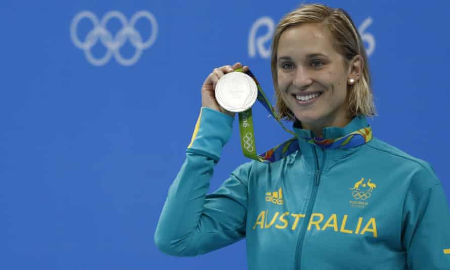 Australian star swimmer Madeline Groves with her silver medal at the Rio Olympic Games