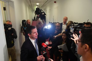Finance minister Simon Birmingham at a press conference at Parliament House today