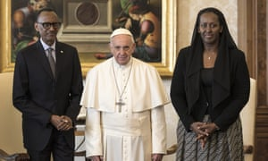 Pope Francis with the Rwandan president Paul Kagame and his wife Jeannette Nyiramongi during an audience at the Apostrolic Palace.