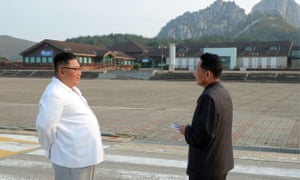 North Korean leader Kim Jong-un inspects Mount Kumgang in a photo released by KCNA.