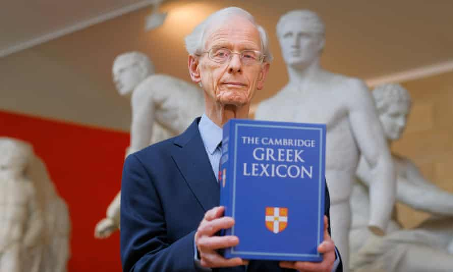'When I was able to sign off the final proofs ... I literally wept with joy' ... Professor James Diggle, holding the Cambridge Greek Lexicon.