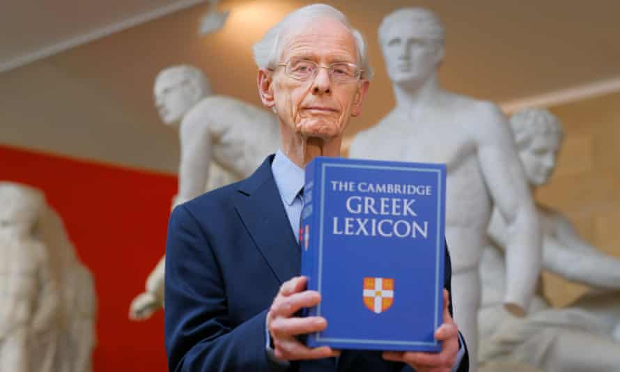 Prof James Diggle with the Cambridge Greek Lexicon.
