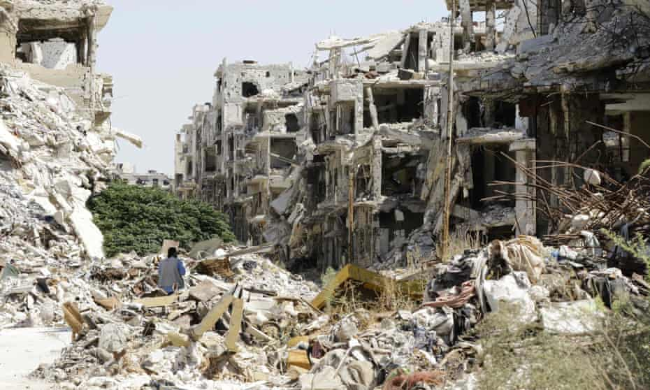 Bombed buildings in the government-held area of Jouret al-Shiah, Homs, Syria, 2016.