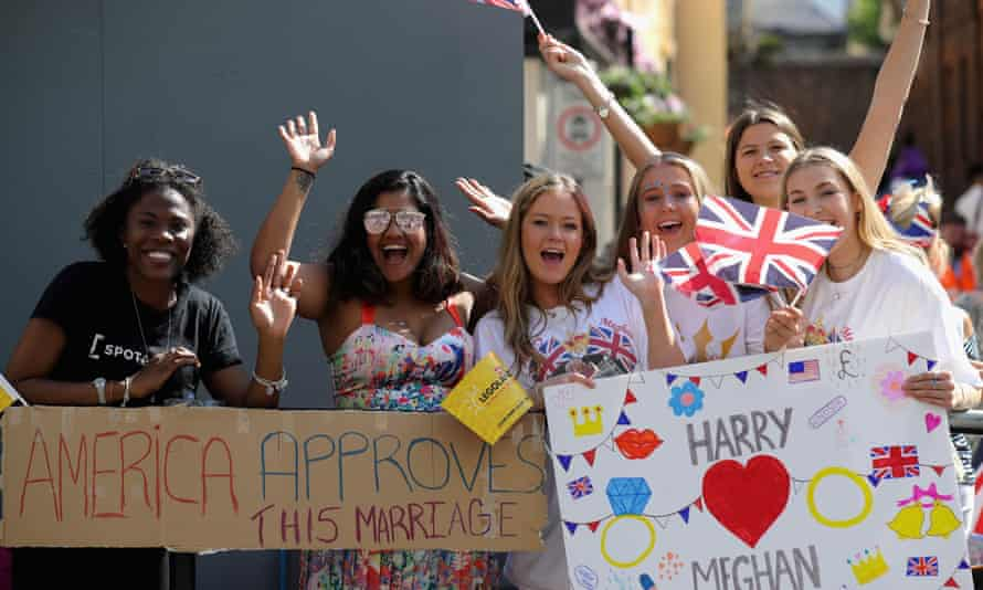 Well-wishers on the streets of Windsor yesterday morning. The wedding has shown Britain a way forward.