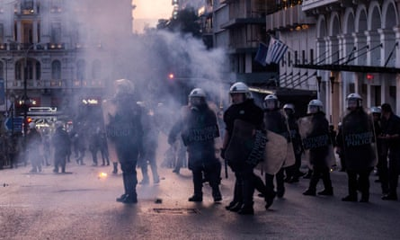 Police used teargas during Sunday's anti-austerity demonstration in Athens.