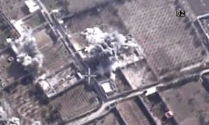 This image made from video made available on Saturday, Dec. 26, 2015, by Al-Mayadeen, government-controlled Syrian Television, which has been verified and is consistent with other AP reporting shows,drone footage allegedly showing Syrian army airstrikes targeting Zahran Allouch, the head of the Army of Islam group near Damascus, Syria. Militant groups in Syria on Saturday mourned the death of a powerful rebel commander who was killed in an airstrike near Damascus — a high profile assassination that may shift the balance of power in rebel-held suburbs of the Syrian capital. Allouch, was killed Friday, Dec. 25 in an airstrike that targeted the group's headquarters during a meeting. (Al-Mayadeen via AP video)