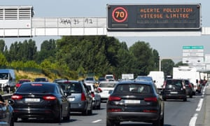"A road billboard displays the message ""pollution warning, speed limited to 70km/h"" as levels near Bordeaux became high thanks to the August heat."