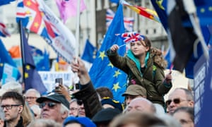 People's Vote 'Together for the Final Say' Rally in LondonLONDON, UNITED KINGDOM - OCTOBER 19: Anti-Brexit protesters take part in 'Together for the Final Say' rally in Parliament Square as hundreds of thousands of people marched through central London to demand a public vote on the outcome of Brexit on 19 October, 2019 in London, England. The demonstration coincides with an emergency Saturday session of Parliament where MPs witheld approval for Boris Johnson's EU withdrawal deal.- PHOTOGRAPH BY Wiktor Szymanowicz / Barcroft Media
