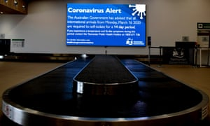 Signage giving travellers updates on coming restrictions at Hobart airport.