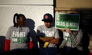 Fast food workers join a nationwide protest for higher wages and union rights in Los Angeles, California.