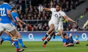 Joe Cokanasiga, in his first Six Nations match for England, was a handful for Italy.