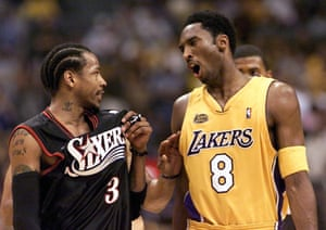 Allen Iverson of the Philadelphia 76ers and Kobe Bryant exchange words at the end of game two of the NBA Finals in 2001.