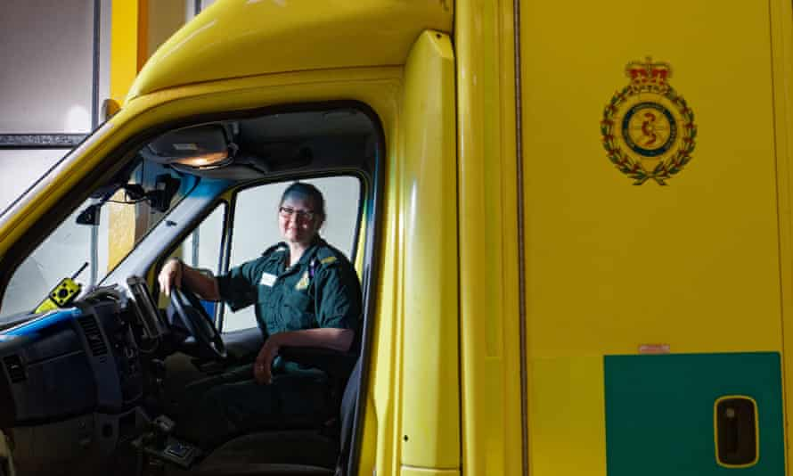 'Never give up on your dreams just because life gets in the way' … Melanie de Castro Pugh at the Welsh Ambulance Service depot in Gelli, Wales.