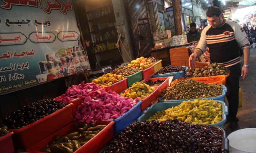 Fresh produce on sale at Al-Zawiya market.