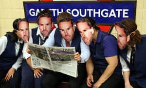 Print the legend … England fans at Southgate tube station in London, temporarily renamed in honour of England's manager.