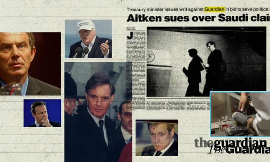 Tony Blair; David Cameron; Donald Trump; Jonathan Aitken; Alastair Campbell; files being destroyed at Guardian HQ