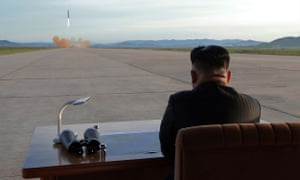 The North Korean leader Kim Jong-Un inspects a launching drill of a ballistic rocket in September 2017.