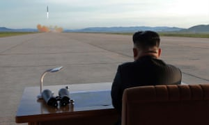 North Korean leader Kim Jong-Un at a test launch of a missile in 2017.