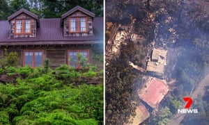 Heritage listed Binna Burra lodge in the Gold Coast Hinterland rainforest, before and after it was destroyed by fire