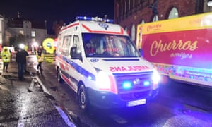 An ambulance believed to be carrying the Gdańsk mayor, Paweł Adamowicz, to hospital.