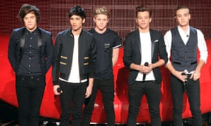 One Direction performing on The X Factor in 2012. (l-r): Harry Styles, Zayn Malik, Niall Horan, Louis Tomlinson and Liam Payne.