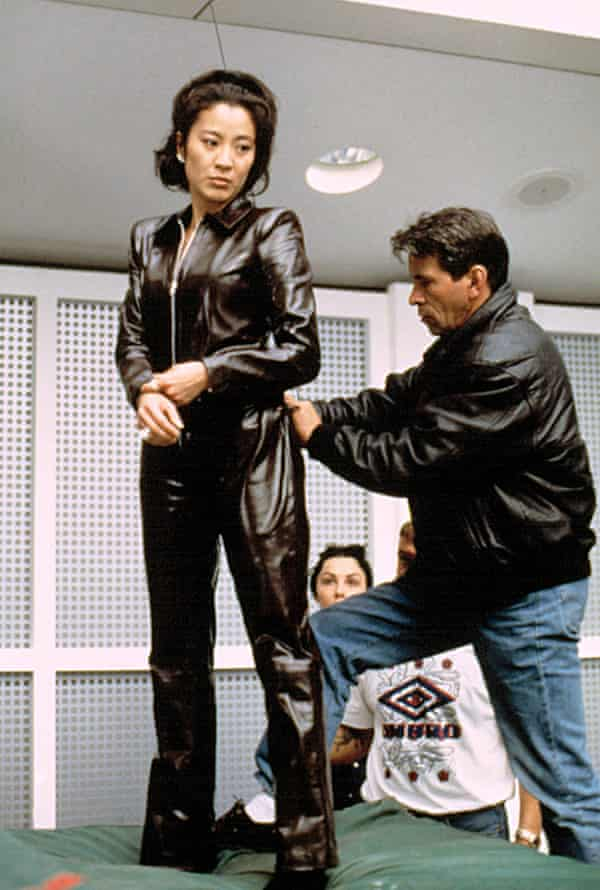 The one-take wonder… preparing for a stunt in Tomorrow Never Dies.