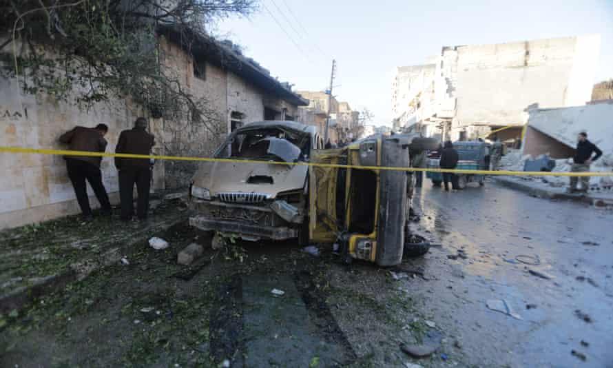 The scene of the bombing in Azaz on Sunday.