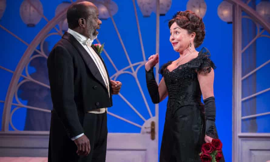 Joseph Marcell as Lord Lorton and Samantha Spiro as Mrs Erlynne in Lady Windermere's Fan.