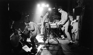 The Specials on stage, June 1980 (l-r): Lynval Golding, Neville Staple, Roddy Radiation, Terry Hall, Jerry Dammers, John Bradbury.