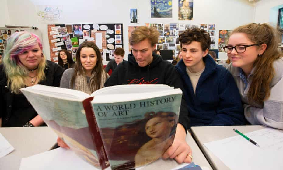 Students study for AS level history of art at Goldalming College, Surrey, 2014.