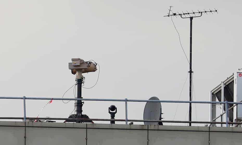 Counter-drone equipment deployed on a rooftop at Gatwick airport last December.