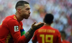 Sergio Ramos blows a kiss after Spain take the lead against Russia.