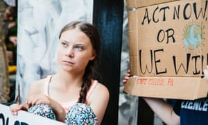 Greta Thunberg outside the UN headquarters in New York, on 30 August.