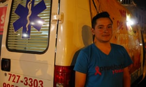 Darwin Zerpa, 29, an HIV-positive Venezuelan who works as a counsellor for charity Aids Healthcare Foundation in Peru
