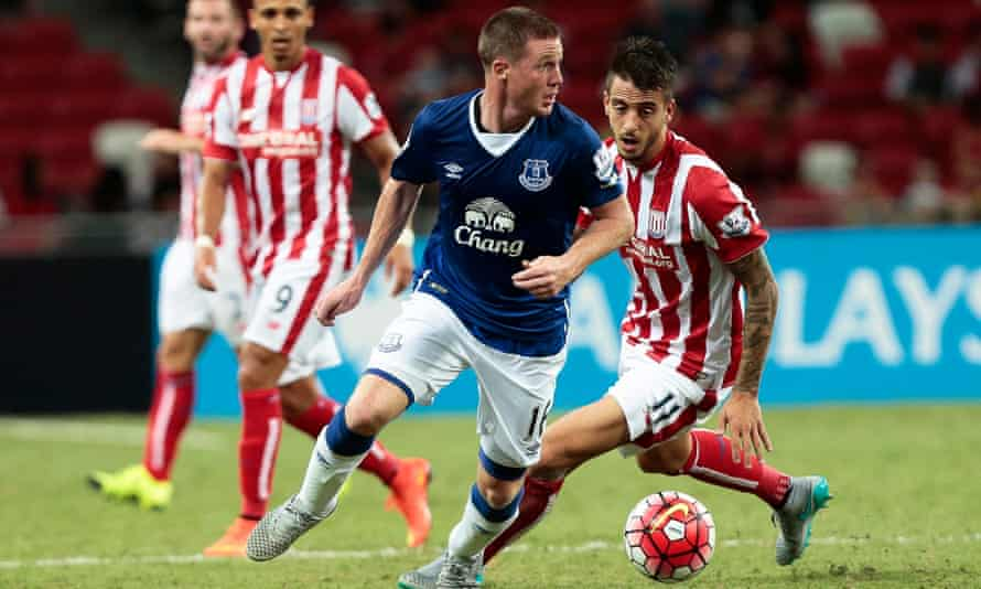 James McCarthy, in action during Everton's penalty shootout victory over Stoke in Singapore's Barclays Asia Trophy, was signed for £13m from Wigan in 2013.
