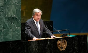 UN secretary general António Guterres addresses the closing meeting of the 73rd session of the United Nations General Assembly at the UN headquarters on 16 September.