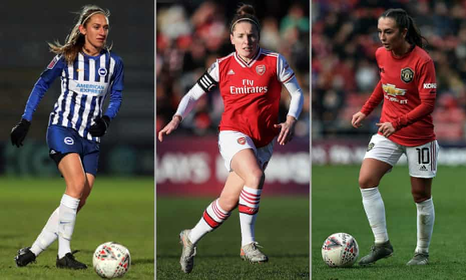 Aileen Whelan of Brighton & Hove Albion, Arsenal's Kim Little and Katie Zelem of Manchester United.