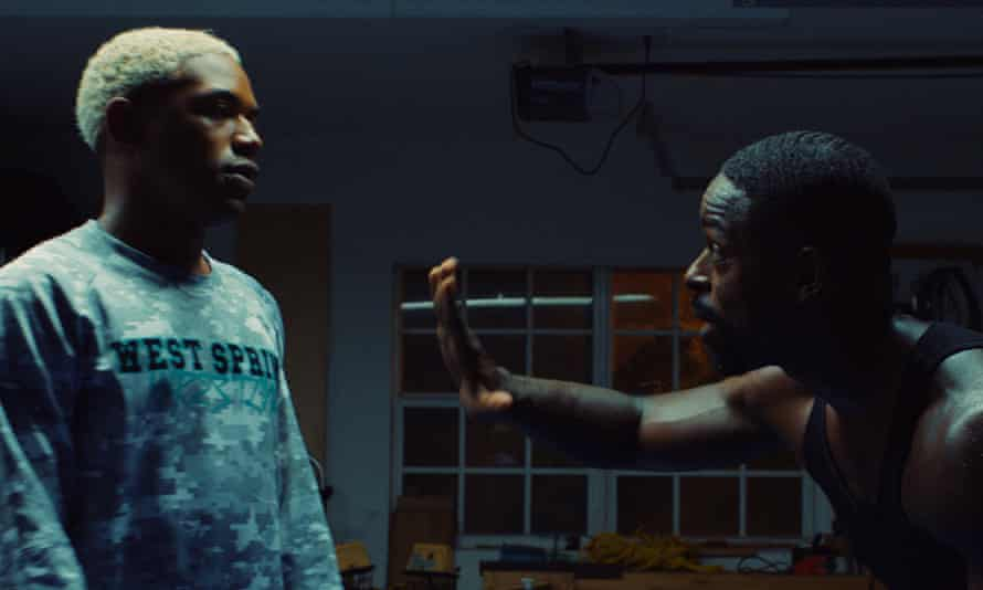 Trouble ahead … Kelvin Harrison Jr as Tyler and Sterling K Brown as his dad in Waves.