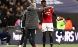 Jose Mourinho with Paul Pogba on the touchline