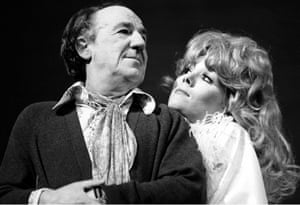 Michael Hordern and Diana Rigg in Jumpers for the National Theatre at the Old Vic in 1972.