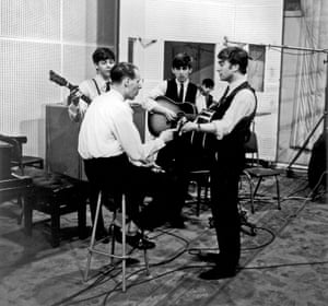 Martin and the Beatles recording From Me to You in Abbey Road in 1962, the year he signed the band to his Parlophone label.