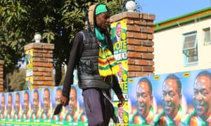 Posters of Zimbabwean president Emmerson Mnangagwa in Harare