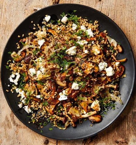 Yotam Ottolenghi's bulgur with mushrooms, feta and dill.