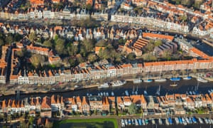 Aerial view of Middelburg, with canals and period houses