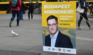 A billboard urging voters to back Gergely Karácsony in the Budapest mayoral race